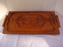 VINTAGE WOODEN MEAT CARVING TRAY 1940'S/1950'S BEAUTIFUL - MINIMAL USE/ ... - £20.71 GBP
