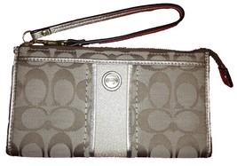 Coach Signature Stripe Zippy Wallet F49139 Khaki/Gold - $245.52