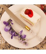 Crystal-Like Acrylic Handled Cake Knife With Gold Band - Set of 72 - $202.99