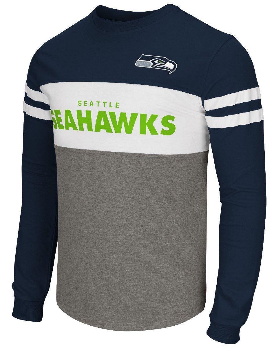 Seattle Seahawks Shirt Men's ERA Long Sleeve Colorblock Tee NFL Football G-III