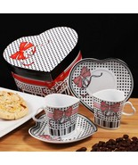 Bow Design Heart Shaped Espresso Set of 2 Cups and 2 Saucers - 84 Sets - $318.99