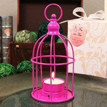 Hot Pink Bird Cage Shaped Steel Lantern With Tea Light Candle - Set of 12 - $54.99