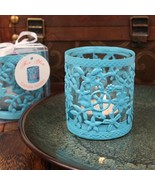 Blue Steel Garden Candle Holder With Glass Cup And Tea Light Candle - Se... - $204.99