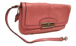 Coach F48988 Kristin Leather Large Flap Wristlet Rose Pink Wallet Purse - $255.42