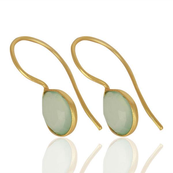 Aqua Chalcedony 925 Sterling Silver Drop Dangle Earrings Jewelry