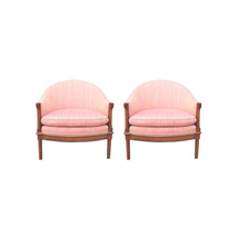 Hollywood Regency Pink Barrel Back Club Chairs-A Pair - $3,800.00