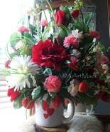 Strawberry Flower Arrangement Reds Pinks White Heart Mug, Valentine's or... - $85.00