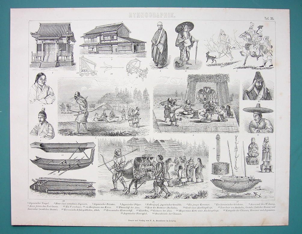 POEPLE Costume of Japan & Korea Boats Buildings - 1870s Antique Print