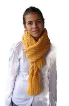 Soft, Hot, Long and impressive hand knitted woman's scarf with tassels - $46.74