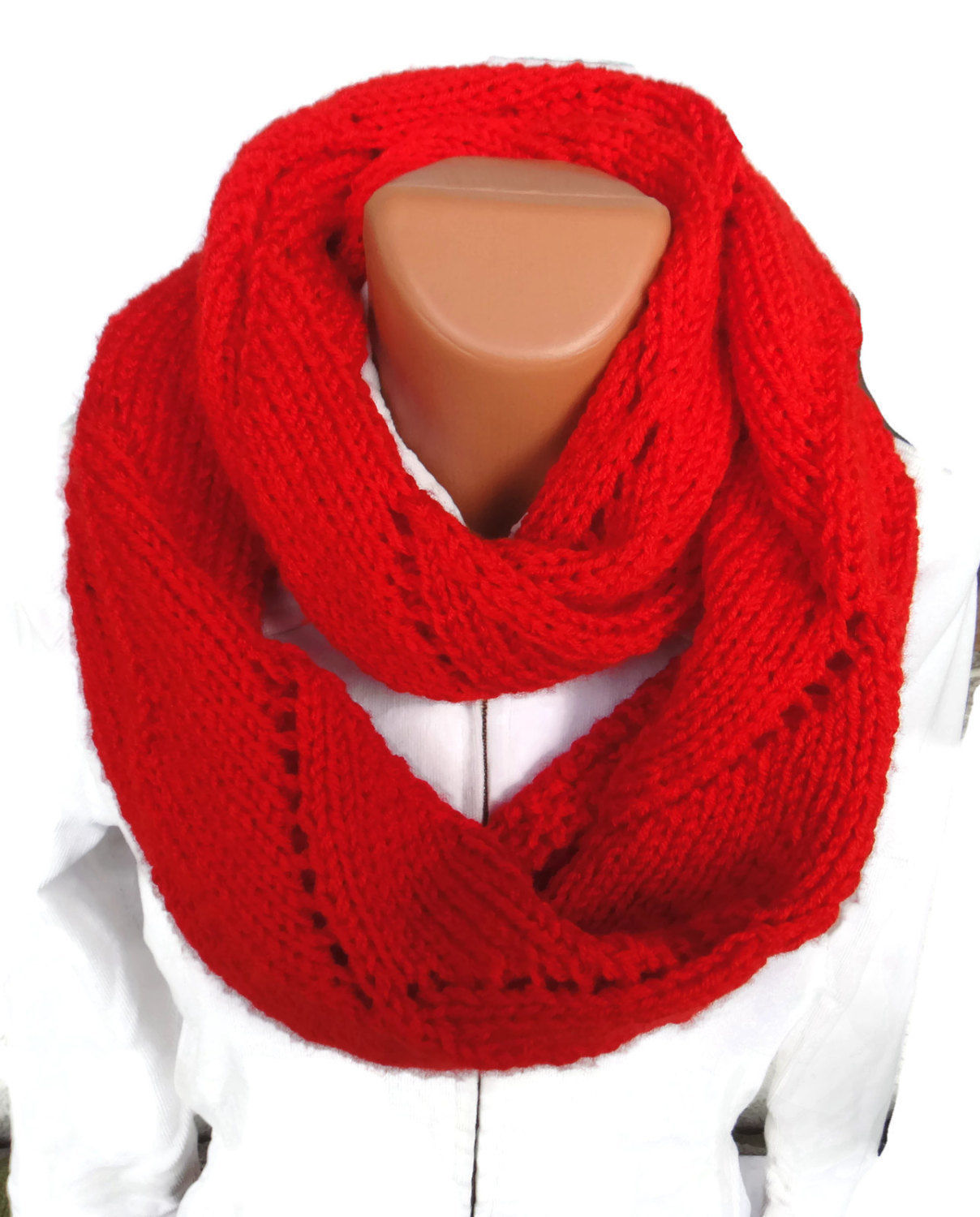 Soft and warm long hand knit infinity circle lady's scarf. Free Shipping! image 1