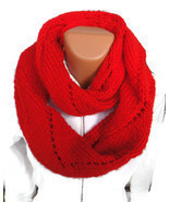 Soft and warm long hand knit infinity circle lady's scarf. Free Shipping! - €41,84 EUR