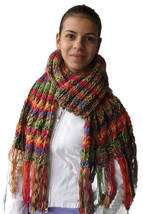 Soft, Hot, Long, Wide, thick and impressive hand knitted woman scarf w/t... - $51.41