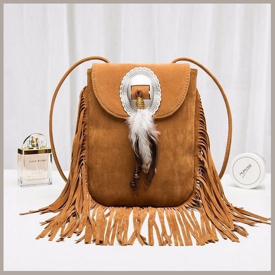 Spirit Feather Clasp Long Hanging Fringe Velvet Faux Suede Leather Shoulder Bag
