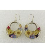 Resin Cast Real FLOWERS Circular Drop Dangle EA... - $53.50
