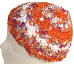 Orange and White Crochet Beanie Hat - $11.80