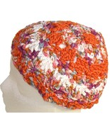 Orange and White Crochet Beanie Hat - $13.50