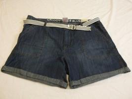 Women's Missy Canyon River Blues Size 16 Cuffed Jean Shorts W Blue Belt NEW - $21.77