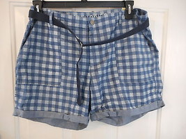 Women's Missy Canyon River Blues Size 14 Cuffed Jean Shorts W Belt Checkered NEW - $21.77