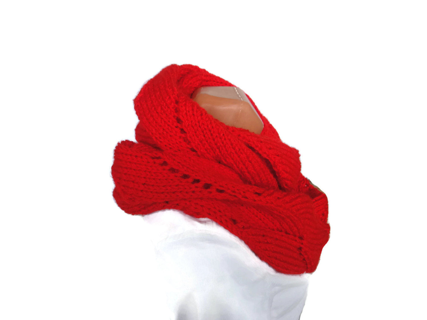 Soft and warm long hand knit infinity circle lady's scarf. Free Shipping! image 2