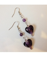 Purple Glass Heart Beaded Earrings Handmade Beads Silver Metal Dangle Pi... - $28.00