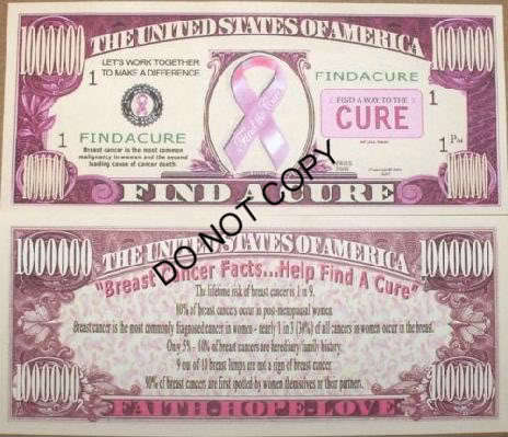 Pink Breast Cancer Awareness - find a cure million $ bill