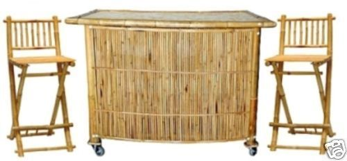 Bamboo Indoor/Outdoor Tiki Bar/ 3 Piece Set-Portable