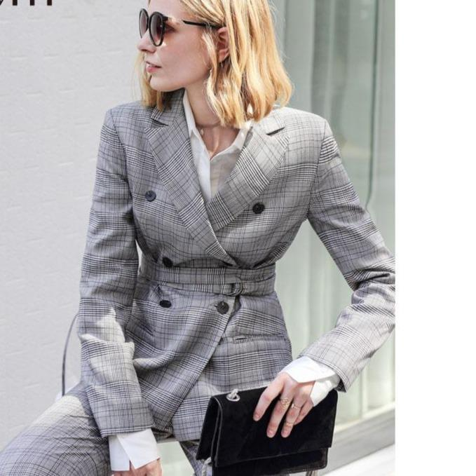 spring women plaid double breasted blazer with belt casual 647bf124 ba0f 41b0 b237 261acdda7763
