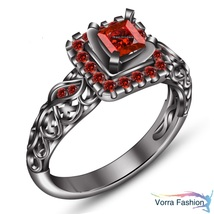 Princess Cut Red Garnet Black Gold Over Pure 925 Silver Engagement Wedding Ring - $72.99