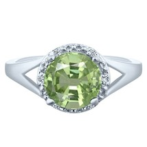 .83 tcw Unique Cushion Cut cr Emerald & Round Diamond Ring 10k White Gold - £135.41 GBP