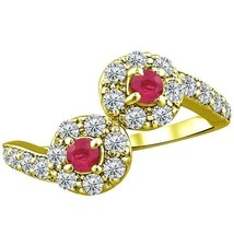 1.00 tcw Natural Ruby Diamond 2 Stone Twist Unique Ring 14k Y Gold PL Si... - £228.14 GBP