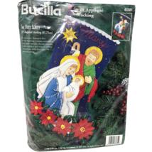 "VTG NIP Bucilla Felt Applique Holy Family 18"" Diagonal Stocking 83385 Nativity - $49.49"