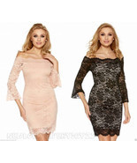 Off Shoulder Lace Applique Fitted Women Mini Dr... - $21.89