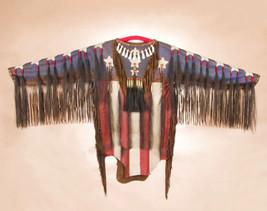 Native American Hand Painted Deerskin Flag Moti... - $2,265.00