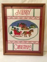 Merry Christmas Sled Framed Wall Art Cross Stit... - $64.52
