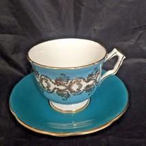 Aynsley Vintage Cup & Saucer Turquoise Blue Gold Design Fine Bone China ... - $23.96