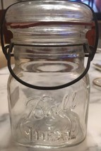 Vintage Clear 1 pt Ball Ideal Bail Top Mason Jar, Bail, Glass Lid Odd Sized - $98.01