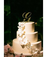 Buythrow® Monogram Letter Cake Topper Wedding Personalized Acrylic Gold - $24.01