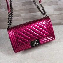 Authentic Chanel Boy Medium Patent Fuchsia Pink Flap Bag image 3