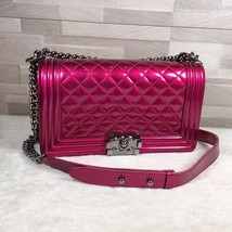 Authentic Chanel Boy Medium Patent Fuchsia Pink Flap Bag