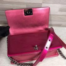 Authentic Chanel Boy Medium Patent Fuchsia Pink Flap Bag image 6