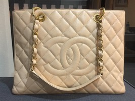 AUTHENTIC CHANEL CAVIAR GST GRAND SHOPPING TOTE BAG BEIGE GHW