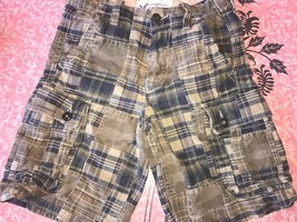 American Eagle ~ Men's Patchwork Brown Blue Plaid Cargo Shorts ~ 28 - $18.50