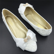 Women White Lace Wedding Shoes,Lace Wedding Ballet Flats Shoes,Wedding S... - $38.00