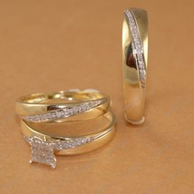 Round Cut Sim Diamond 14k Gold Plated 925 Silver Trio Wedding Ring Set Free Gift - $142.75