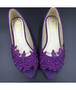 Purple Wedding Slipper Shoes,Purple Wedding Shoe for Bridal,Bridal flats... - $38.00