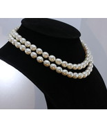 Pearl Necklace 32 Inch Endless Bright Cream White 9x10mm Ovals Knotted R... - $141.55