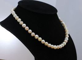 Princess 18 Inch Pearl Necklace White Pink 8.5mm Freshwater Knotted on Real Silk - $56.05