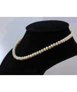 Pearl Choker Necklace 16.5 Inch Cream Freshwater 7 mm Buttons Knotted Re... - $49.40