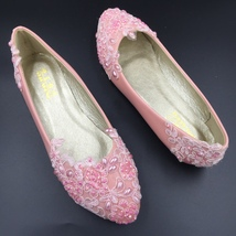 Pink Wedding Slipper Shoes,Wedding Shoe for Bridal,Pink Bridal flats shoes - $38.00