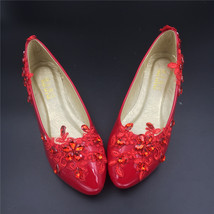 Red Wedding Slipper Shoes,Wedding Shoe for Bridal,Red Women Bridal flats... - $38.00